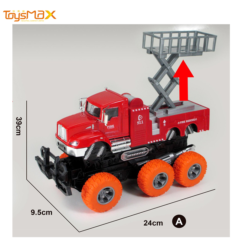 New Double Friction Power Metal Fire fighting Truck Toys Diecast deformation Truck