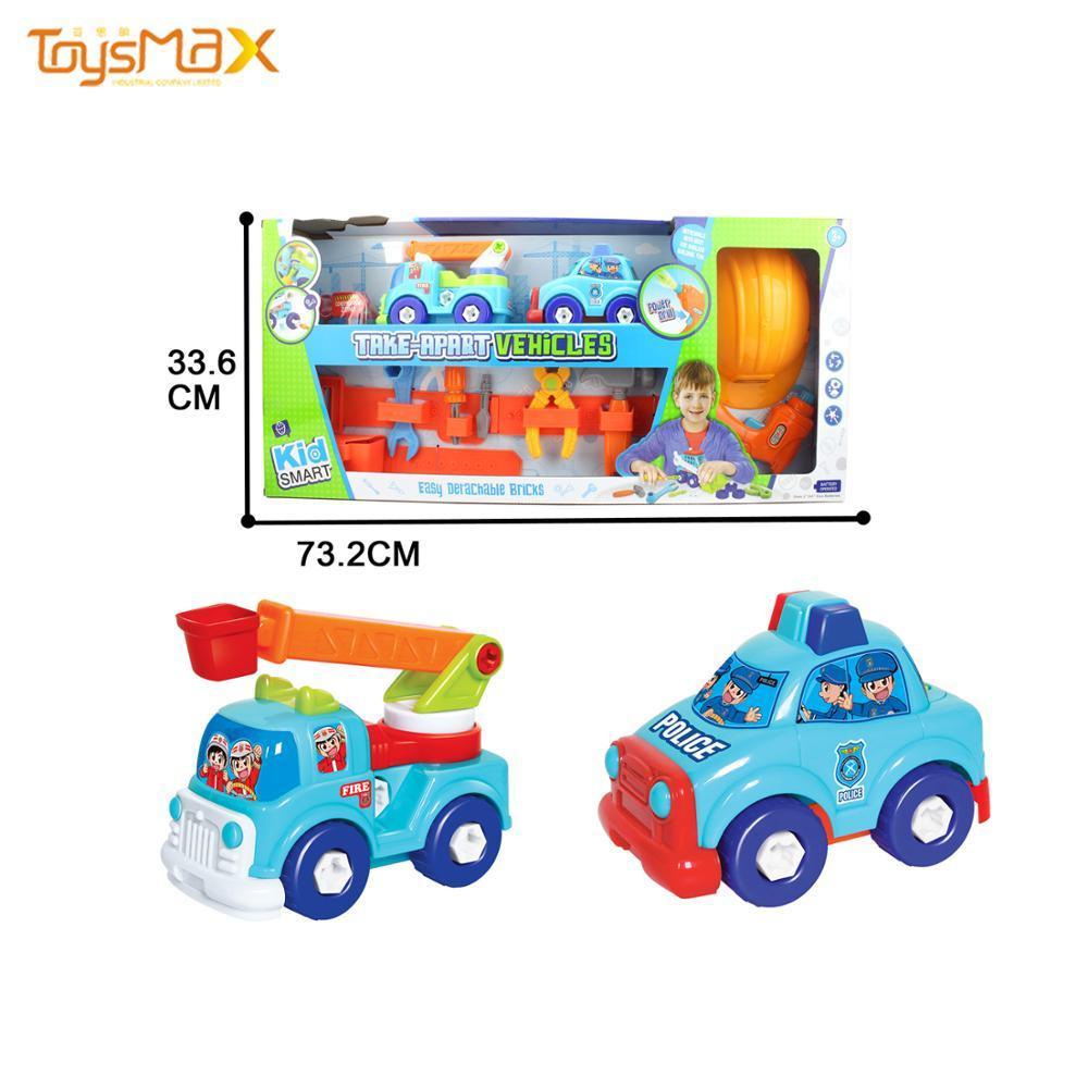 Kids Diy Block Fire Truck  Engineering Toy Cartoon Car With Tools