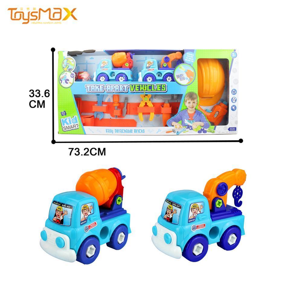 Children Diy Block Crane Truck  Engineering Toy Cartoon Car With Tools