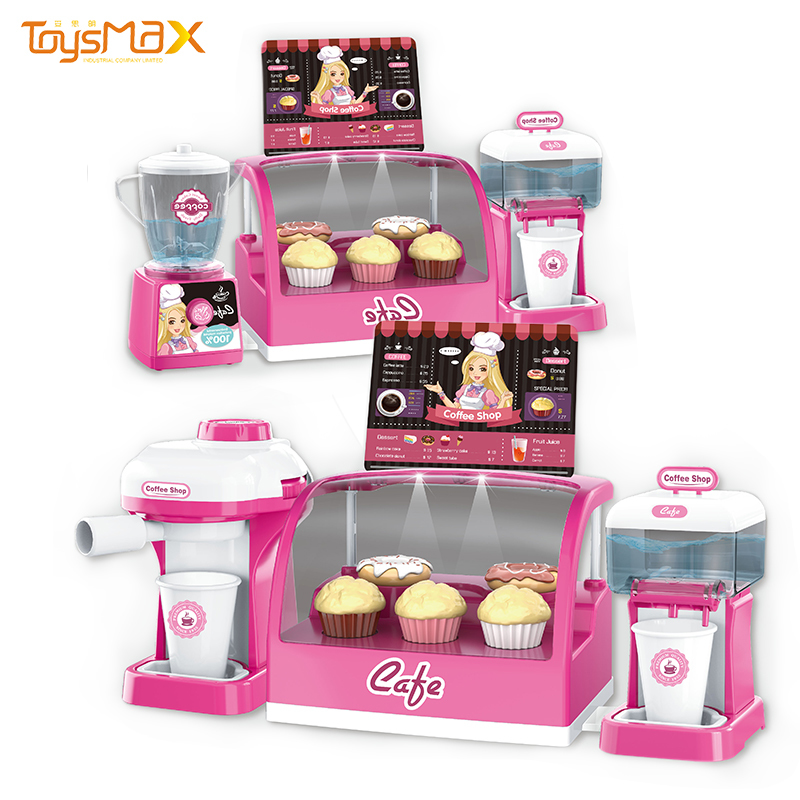 2020 New products Simulation coffee shop toy kitchen sets pretend play with light