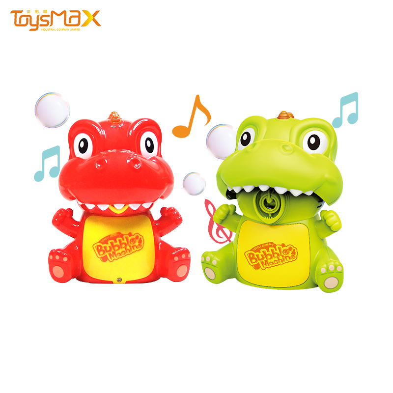 Outdoor soap music toys plastic light electric bubble toy dinosaur for summer