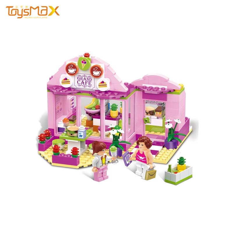 Pink Lovely Girls Innovative Toys Fruit Juice Shop DIY Building Block