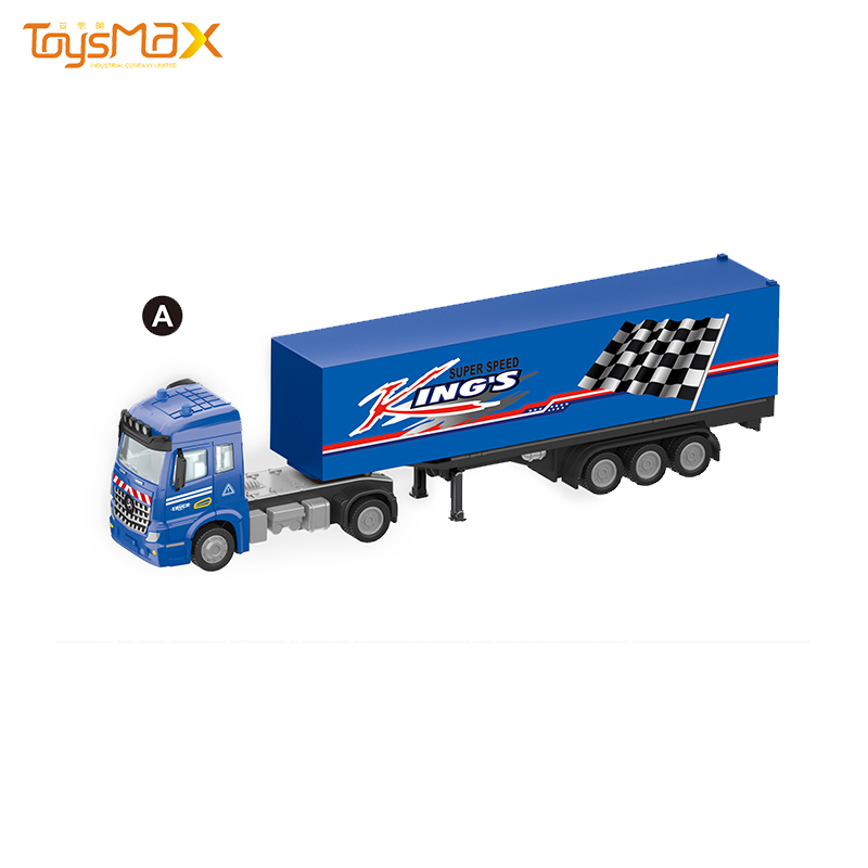 2019 New Europe Style 1:46 Diecast Alloy Toys Truck Trailer Metal Pull back Truck Toy Trailer