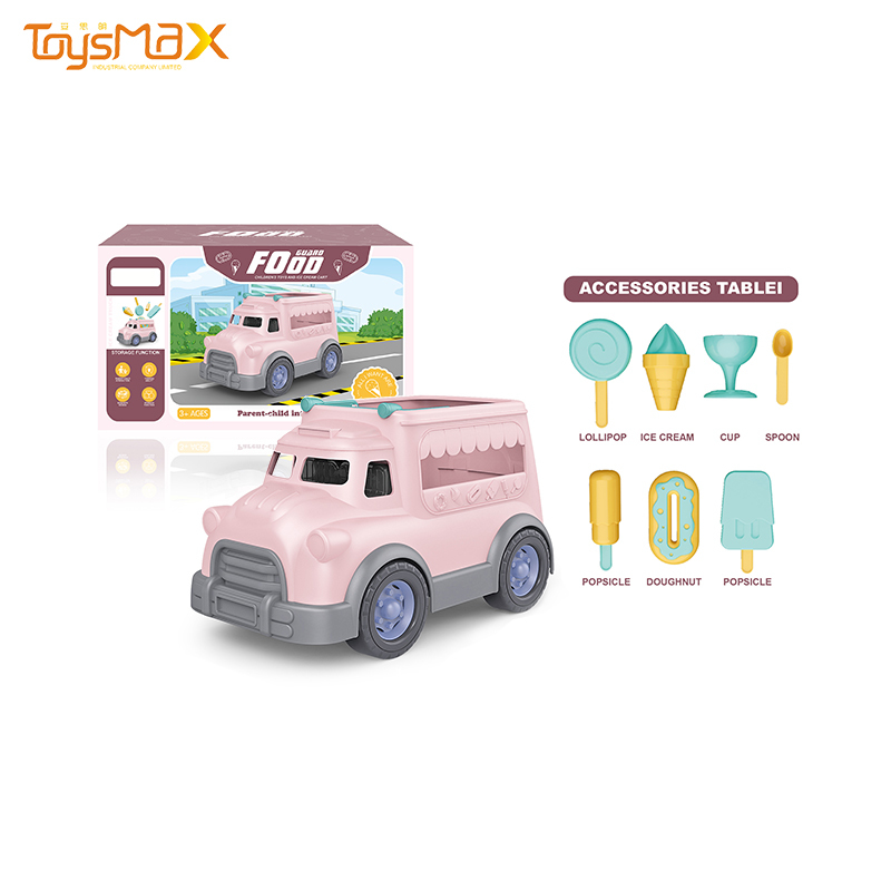 New style lovely pink food truck kids educational sets ice cream car toy