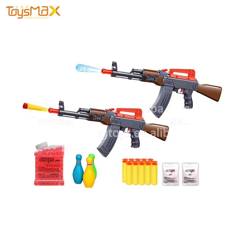 Most popular shooting bowling ball game toys air soft gun toy with soft water bullet