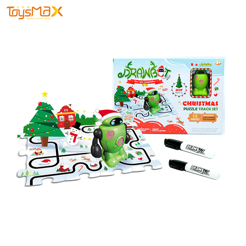 New arrival Walk on the Drawing Line Inductive Toy Christmas puzzle robot toy electronic with magic pen