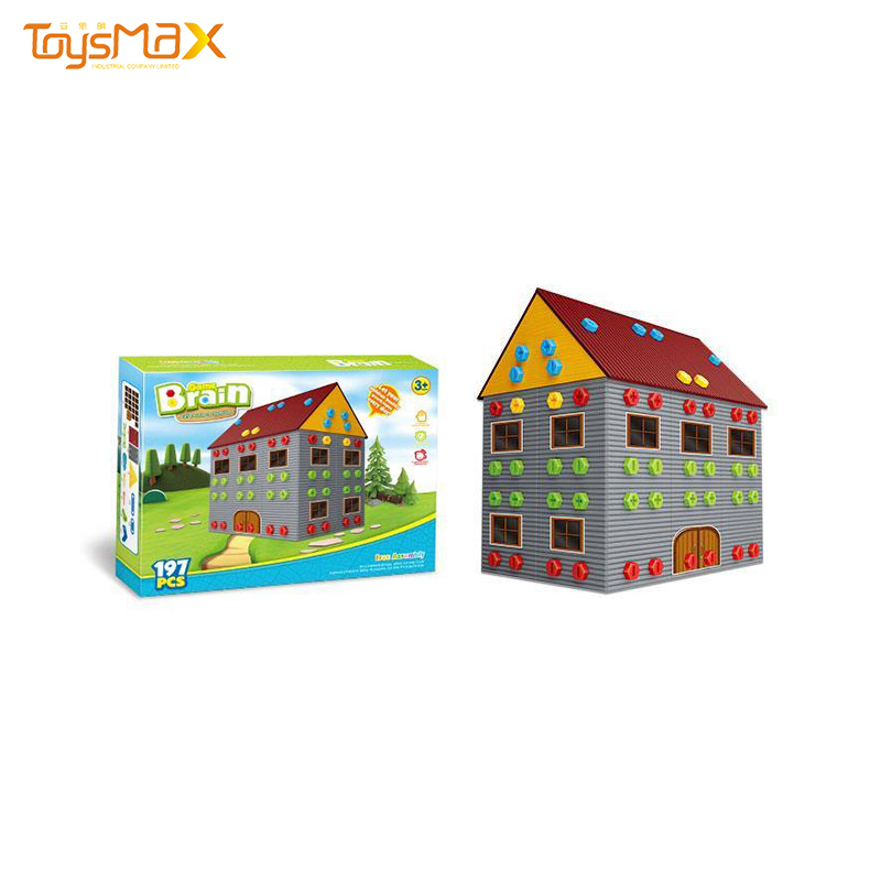 Educational Toys Assembly Double Storey House 3d Building Blocks With Tools