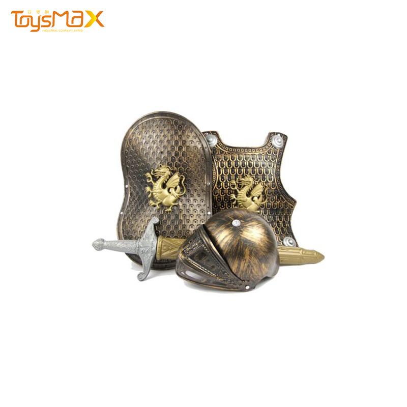 Eco-friendly toy bronze Battle armor shield helmet sword set weapon toy set