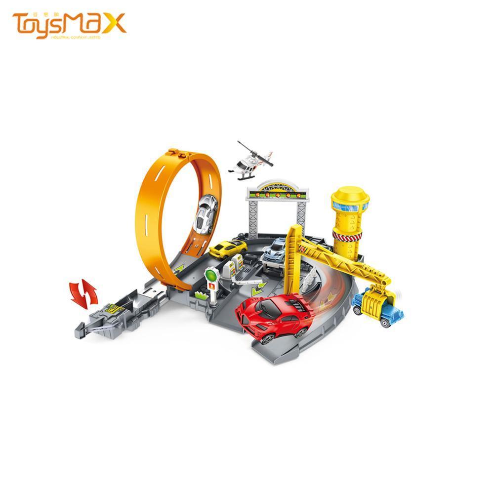 Plastic DIY Catapult Construction Car Parking Track Stitching Garage Toy