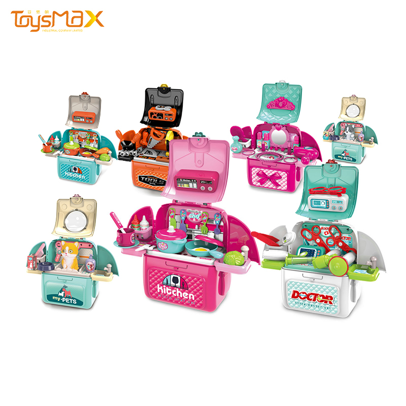 Boys and girls educationaly toys multifunction kitchen tool tableware Medical kit backpack box pretend play