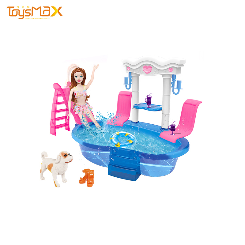 Wholesale fashion girl doll toys swimming pool theme 6 inches solid body with puppy