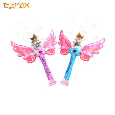 Newest design plastic fairy wand music&light bubble stick toy