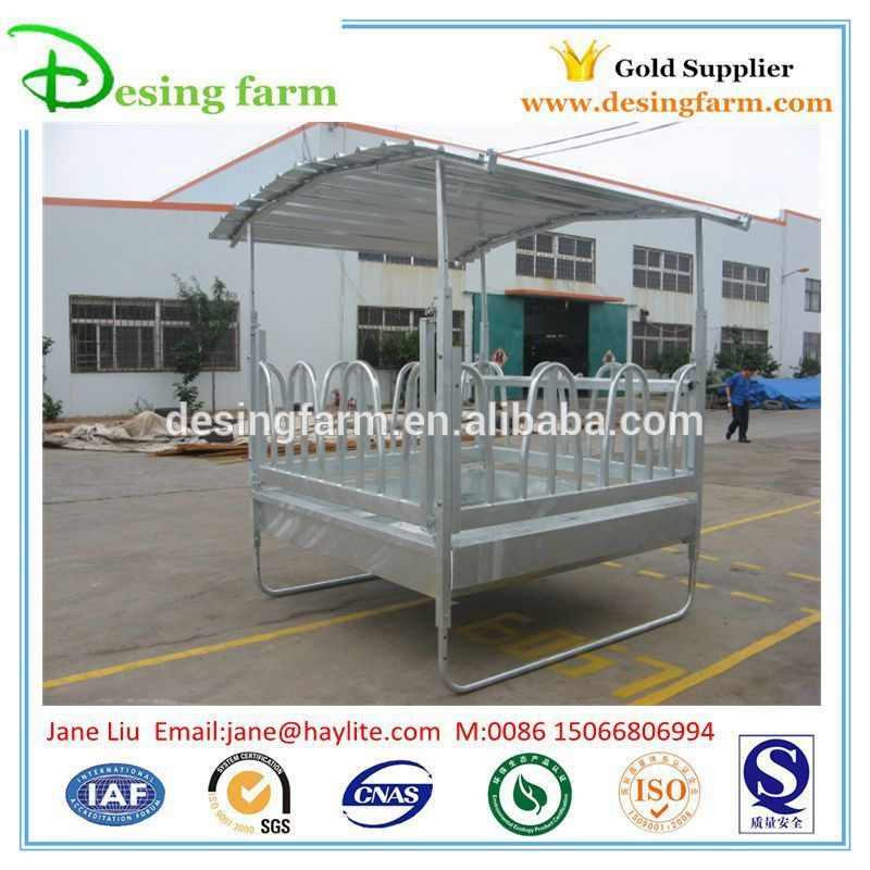 Hot dip galvanized square horse hay feeder with roof