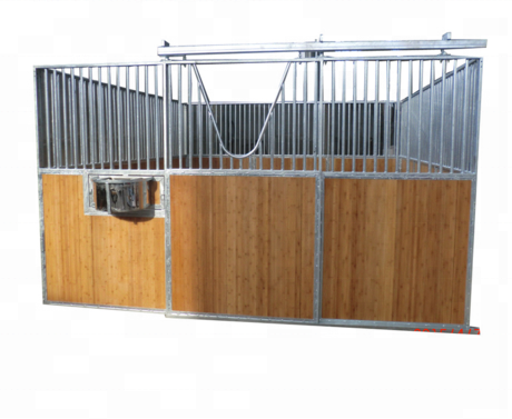 Luxury Bamboo Horse Stall With Rolling Feeder Board Sliding Door