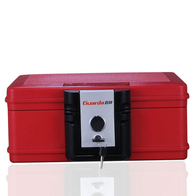 Red color 30 mins fire resistant waterproof safe chest 354*282*154mm with key lock and clamping to unlock