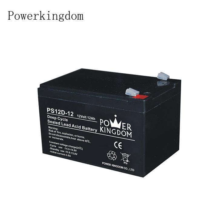 Powerkingdom Brand 12v 12Ah sealed lead acid deep cycle battery for medical equipments