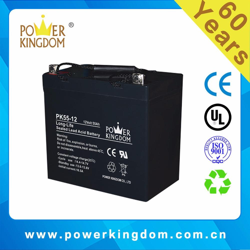 12v 55ah deep cycle sealed lead acid battery for ups and solar