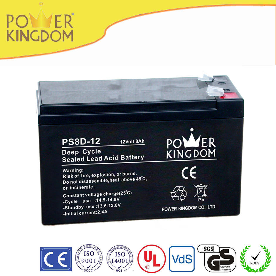 Deep cycle sealed lead lead acid battery 12V 8AH for small solar system