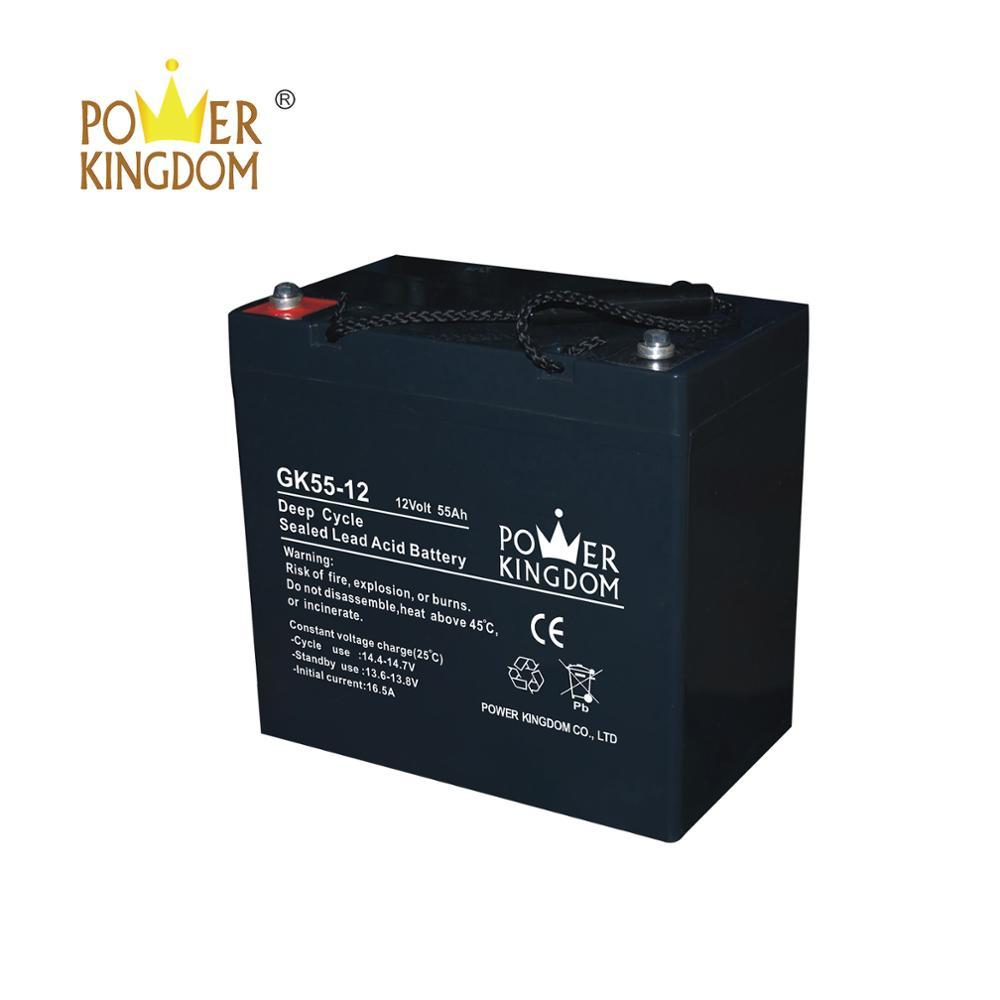 12V 55ah deep cycle gel battery with low self-discharge and maintenance free