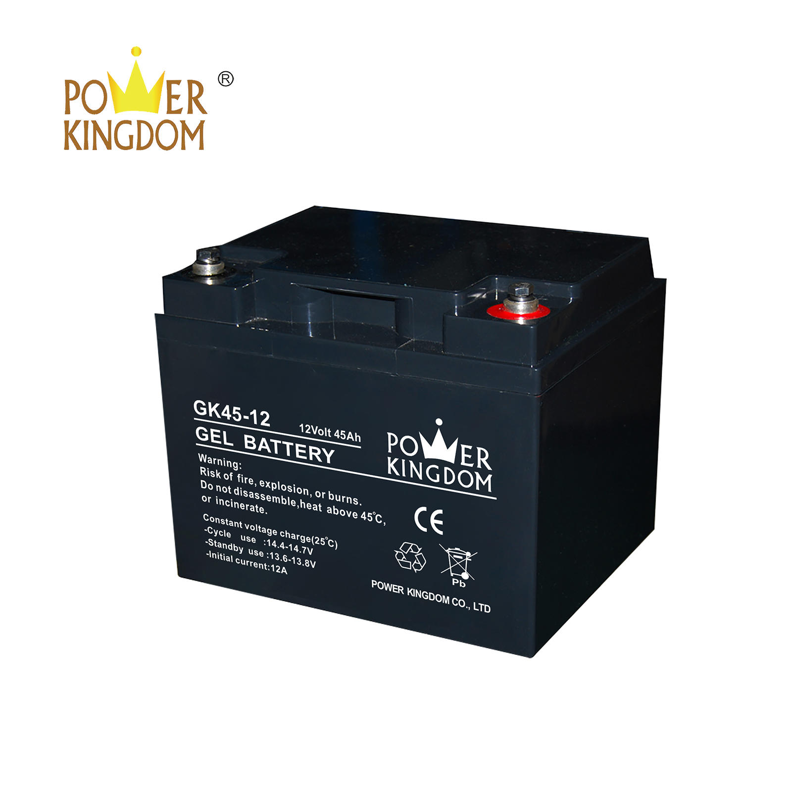 12V 45AH GEL sealed lead acid battery battery baterias for solar usage with CE certification 10hr