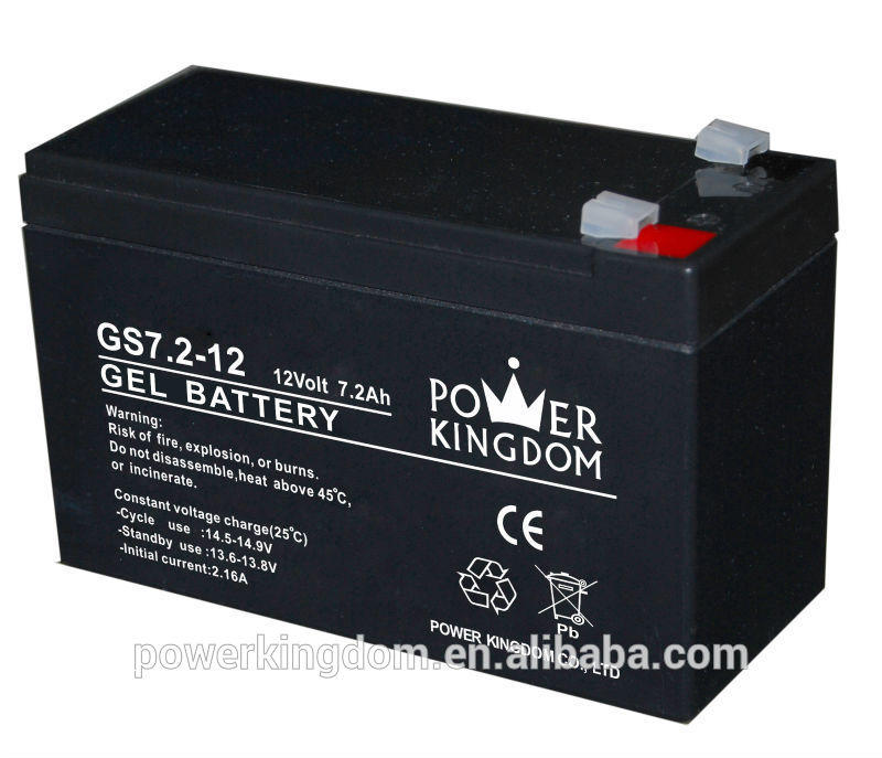 12V GEL battery GS7.2-12 12V7.2ah for electric tool
