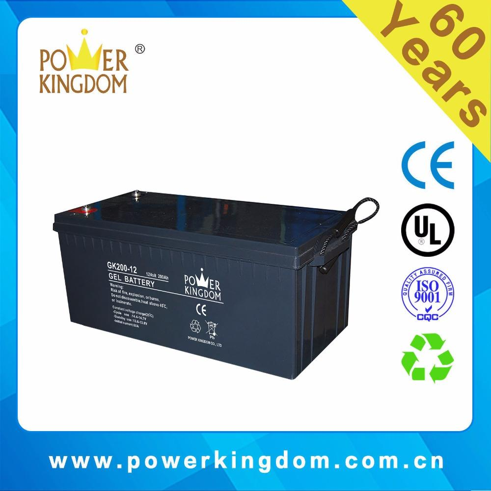 CE, UL approved Gel battery GK200-12 12V200Ah Solar battery