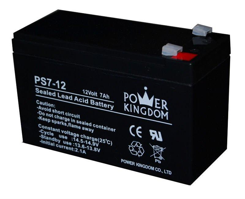 Power Kingdom 12v 7ah rechargeable SLA battery for electric toys UPS cctv system