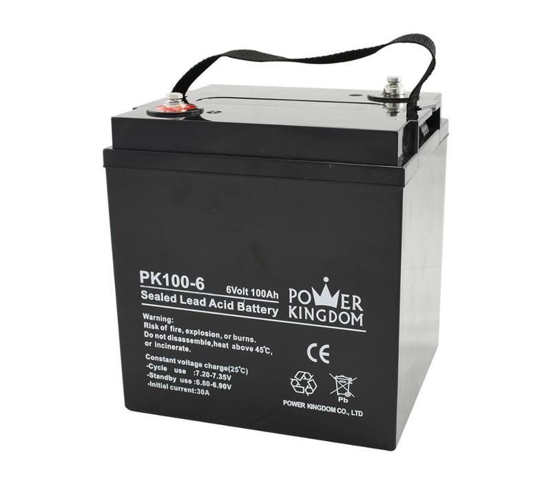 Power kingdom battery 100ah 6v sealed lead acid battery