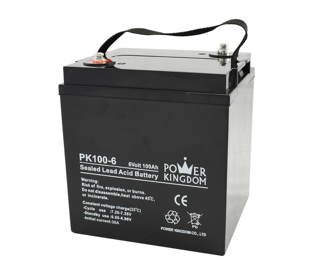 rechargeable lead acid battery 6v 100ah with 3 years warranty