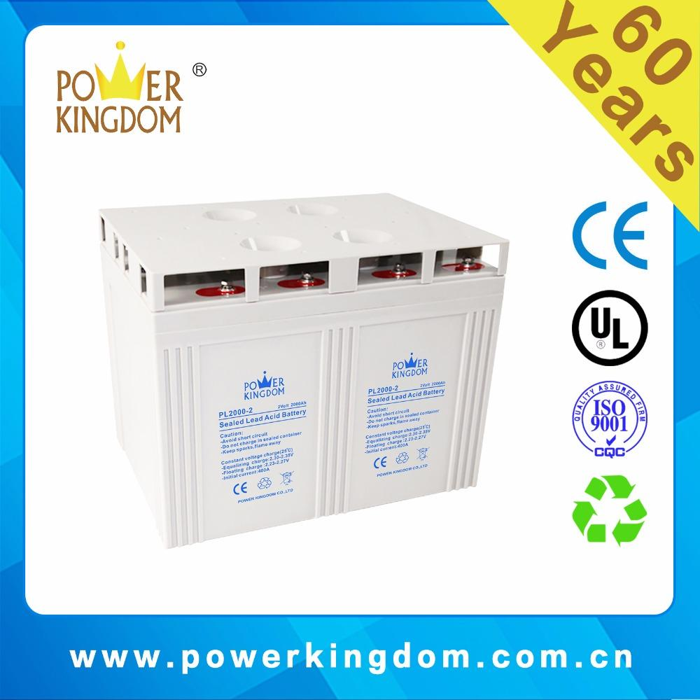 Big solar battery 2V 2000AH High Performance Sealed Lead Acid Battery for Solar and Wind