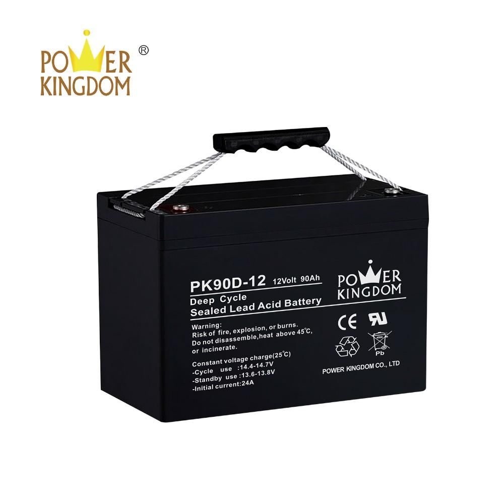 CE UL certified 12v 90AH deep cycle AGM VRLA SLA battery for UPS solar power inverter system with handle