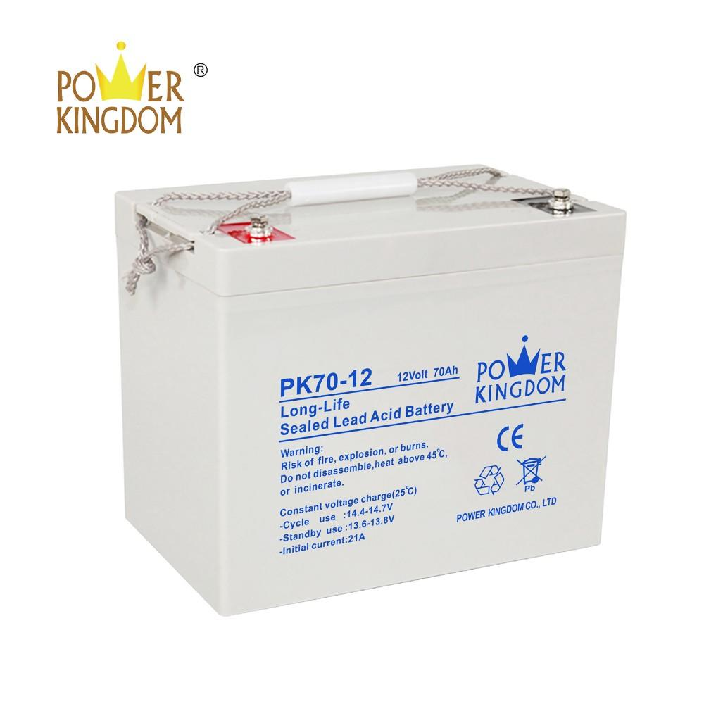 High Quality deep cycle battery 12v 70ah for solar power system with 2 years warranty