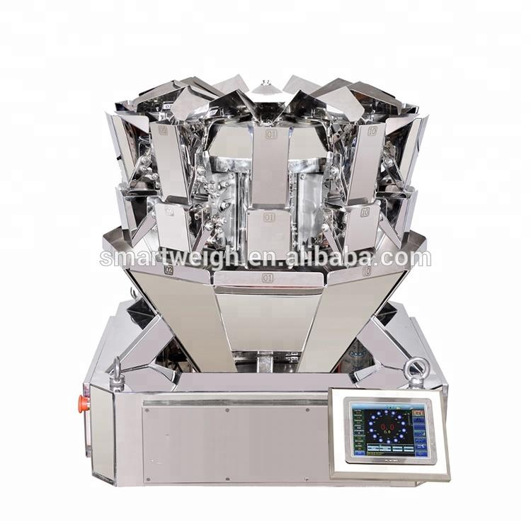 0.5l bucket sw-ms10 mini ten head multihead weigher feeding into tin/bottle