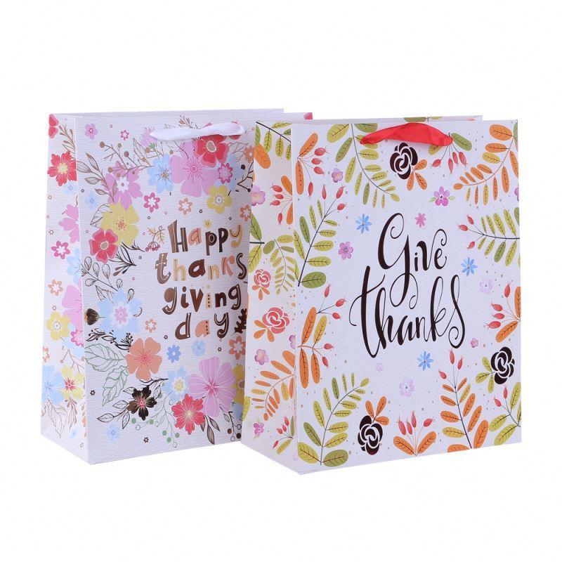Custom design printed paper bag for gift health materials packing paper bag