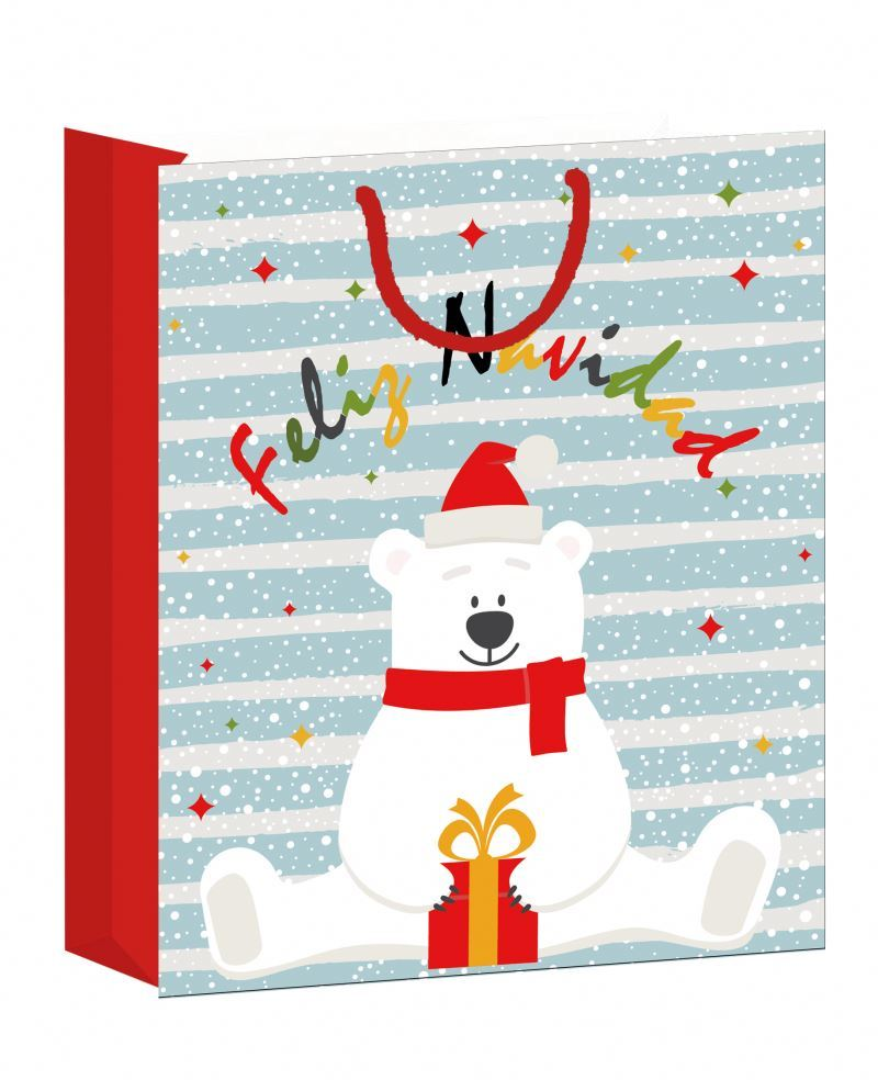 Latest arrival christmas cute cartoon printed logo bag paper handle paper bag