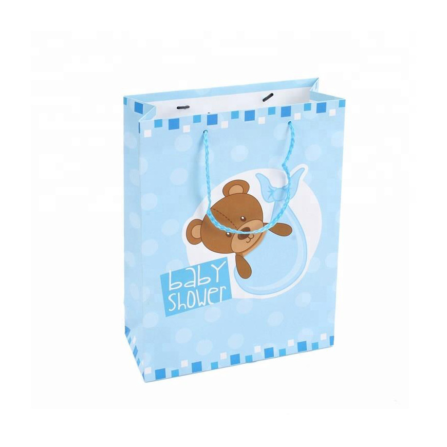 Wholesale cheap Adorable baby gift Blue paper bags