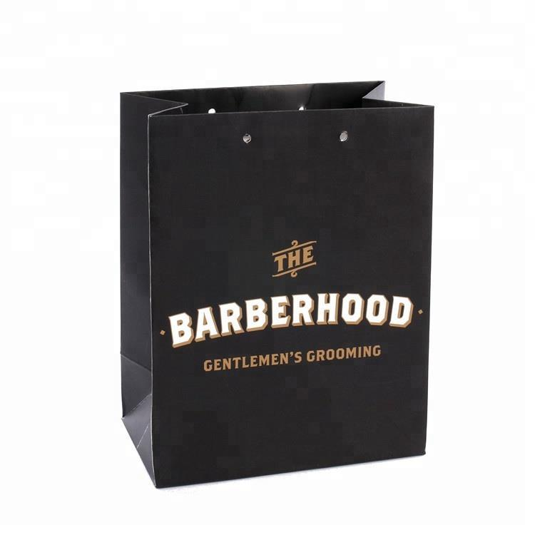 Wholesale Custom Logo Foldable Durable Black Paper Shopping Bag