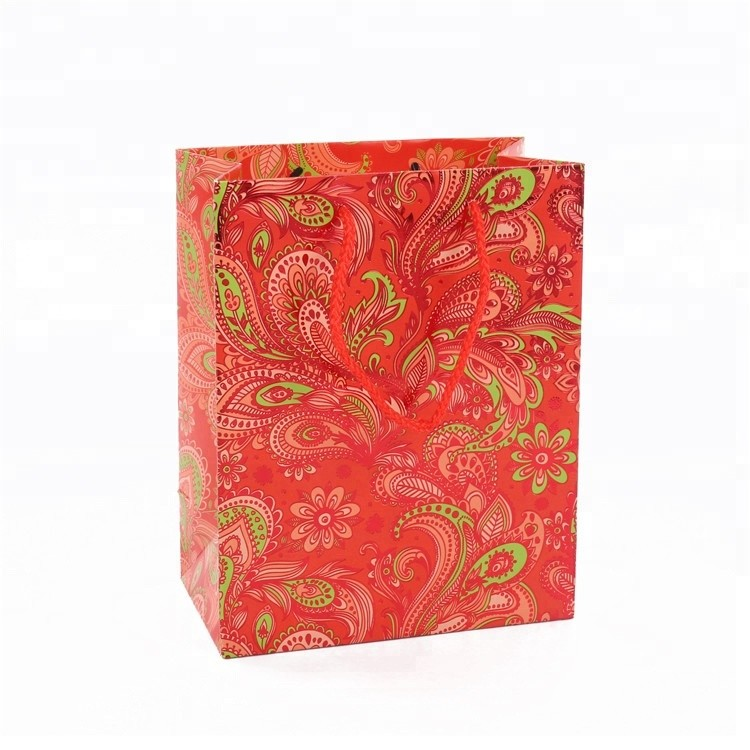 Custom Design Cheap Small Red Wedding Gift Paper Bag with Handles