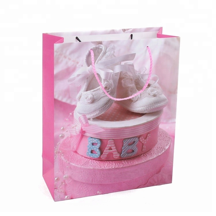 Wholesale Eco-Friendly Birthday Gift Packing Pink Baby Care Paper Bag