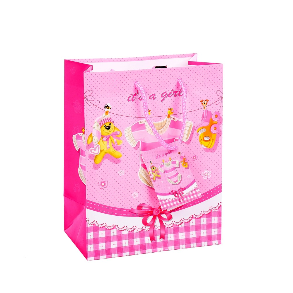 Promotional Personalized Handmade Special Design Pink Printing Gift Shopping Paper Bag