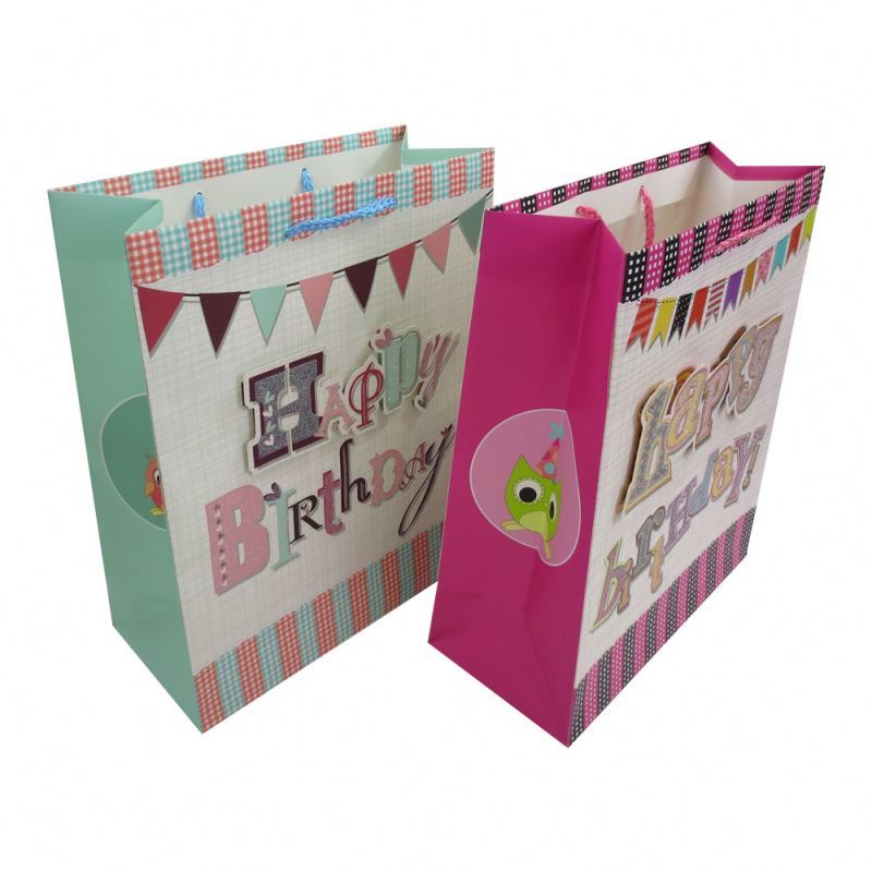 Customized paster dusting craft paper bags,birthday paper shopping bags with handle