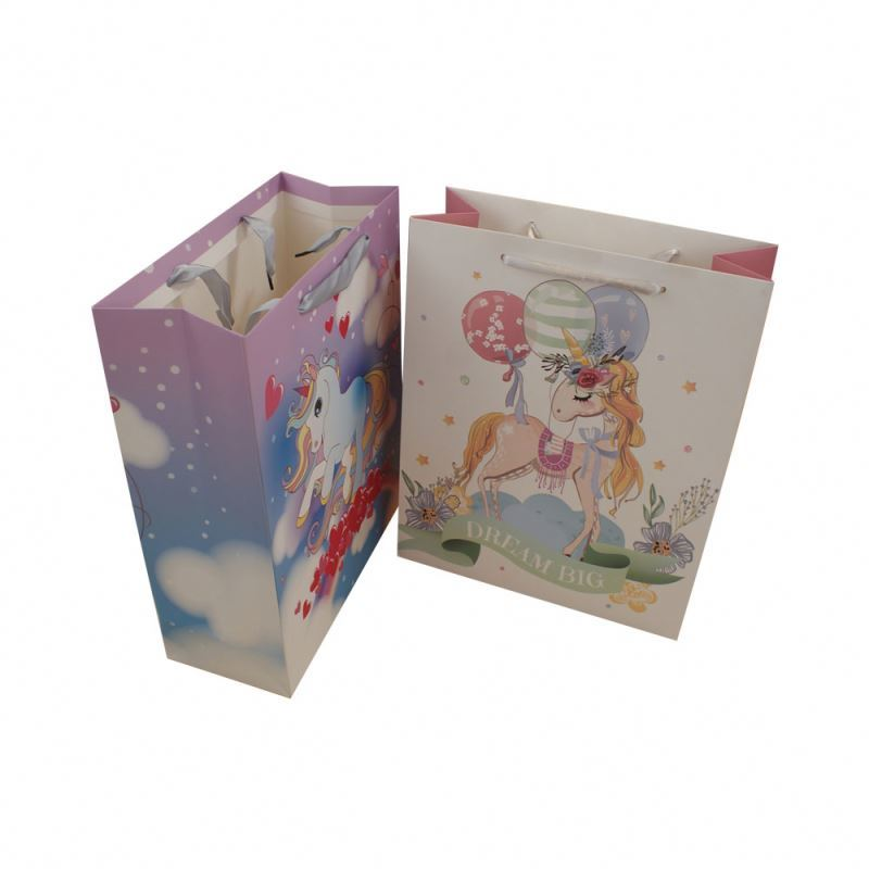 Favorable price best ivory board paper luxury gift unicorn custom size paper bags