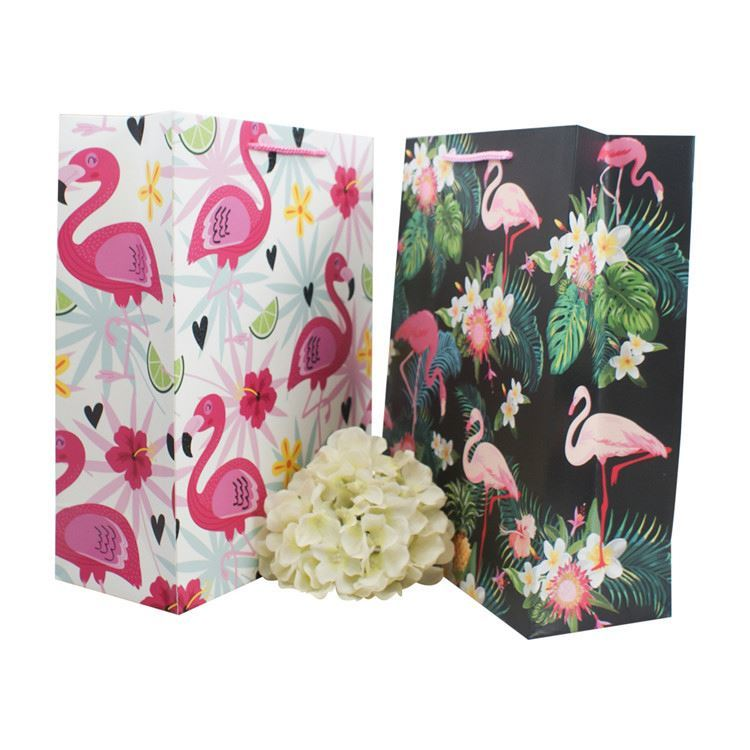 Excellent quality flamingo pattern paper shopping bags recycled paper gift bags