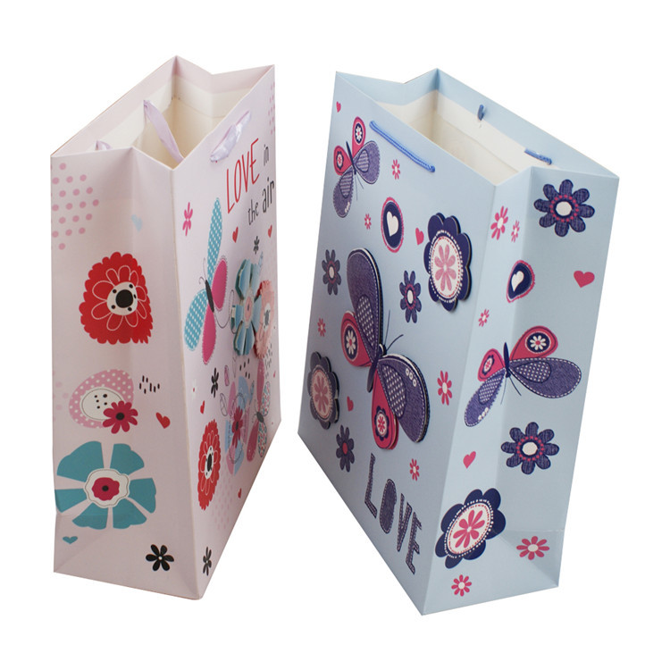 Wholesale custom 3D fancy clothes shopping packaging bag with rope handle