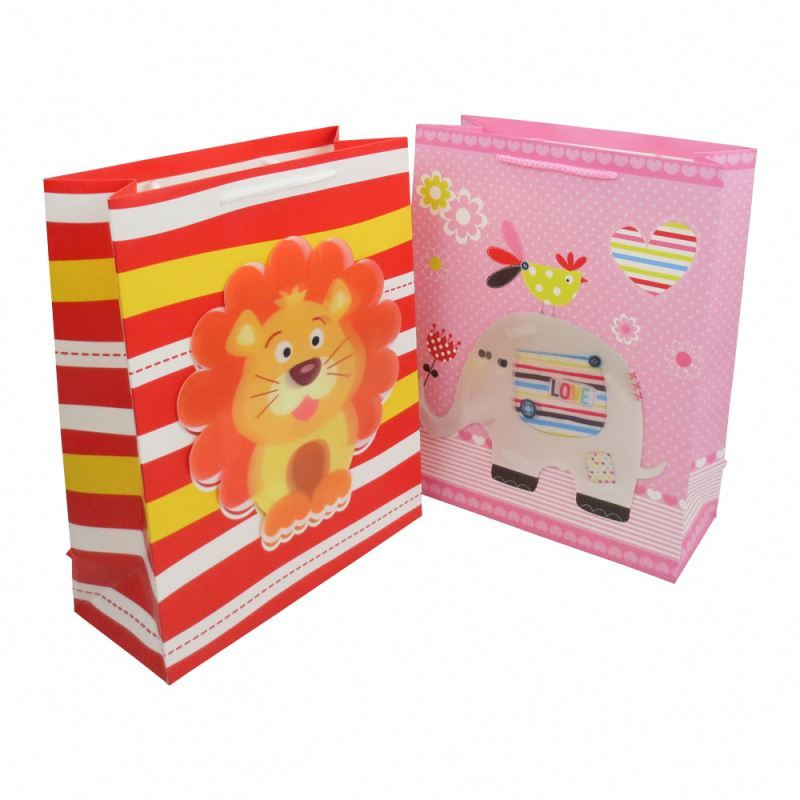 Favorable price kids gift bag 3d fashion gift paper bag with rope handles