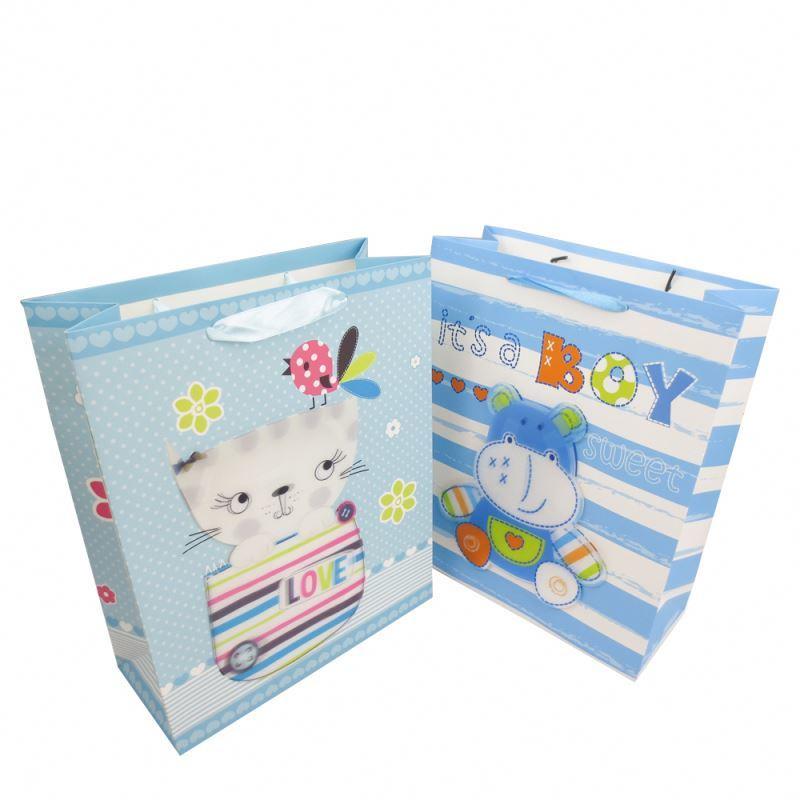 Hot selling fashion shopping paper bag 3d printing custom gift packaging bag