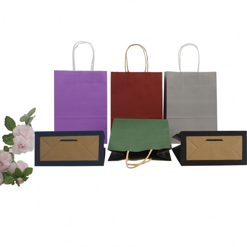 Most popular big kraft paper bag multicolor kraft bag paper withtwisted paper handle