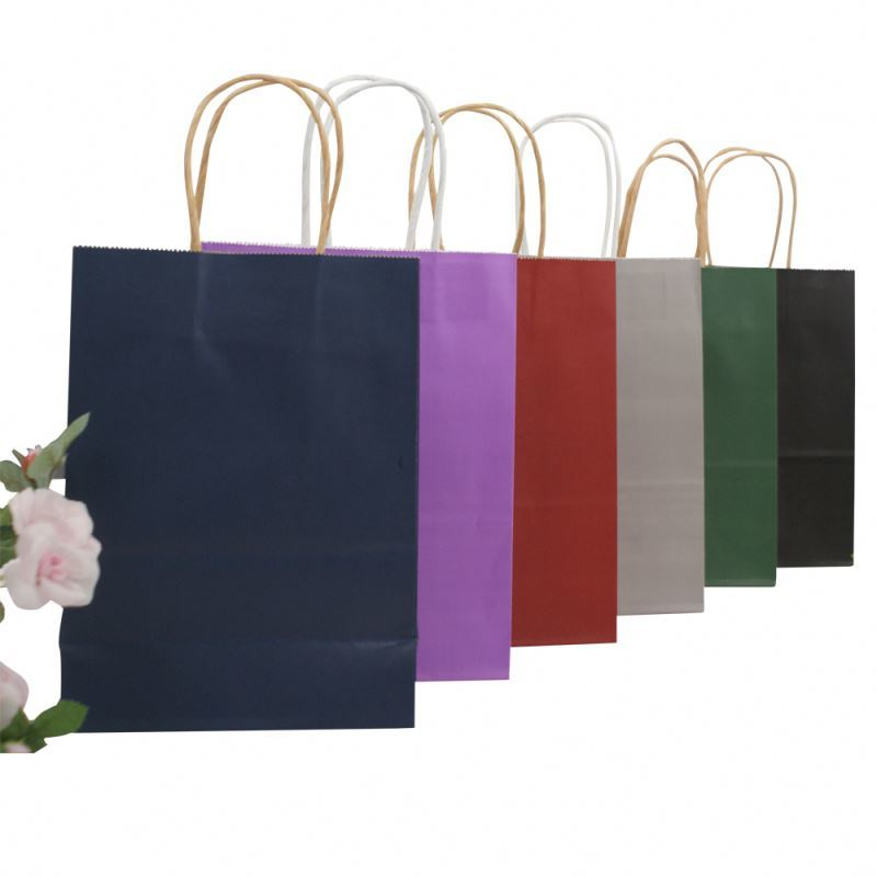 Wholesale Custom Printing Cheap Shopping Recycled Colorful Kraft Paper Bags For Grocery