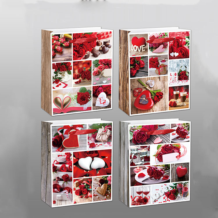 In Stock 210G Ivory Paper Love Pattern Paper Bag Gift Bags With Ribbon Handle