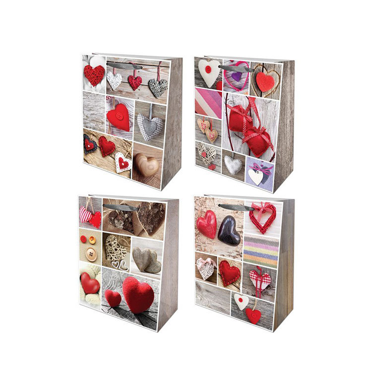Wholesale Promotional Ribbon Handles Gift Wrapping Paper Bag In Stock